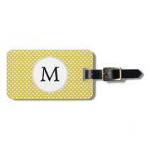 Personalized Monogram Polka Dots Pattern in Yellow Bag Tag
