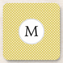 Personalized Monogram Polka Dots Pattern in Yellow Beverage Coaster