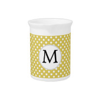 Personalized Monogram Polka Dots Pattern in Yellow Beverage Pitcher