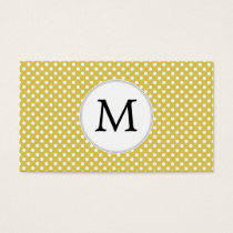 Personalized Monogram Polka Dots Pattern in Yellow Business Card