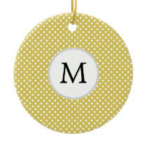 Personalized Monogram Polka Dots Pattern in Yellow Ceramic Ornament