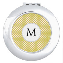 Personalized Monogram Polka Dots Pattern in Yellow Compact Mirror