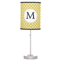 Personalized Monogram Polka Dots Pattern in Yellow Desk Lamp