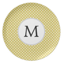 Personalized Monogram Polka Dots Pattern in Yellow Dinner Plate