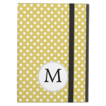 Personalized Monogram Polka Dots Pattern in Yellow iPad Air Case