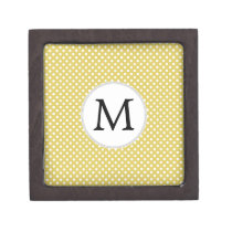Personalized Monogram Polka Dots Pattern in Yellow Jewelry Box