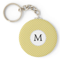 Personalized Monogram Polka Dots Pattern in Yellow Keychain