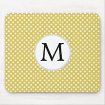Personalized Monogram Polka Dots Pattern in Yellow Mouse Pad