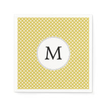 Personalized Monogram Polka Dots Pattern in Yellow Napkin