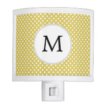 Personalized Monogram Polka Dots Pattern in Yellow Night Light