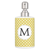 Personalized Monogram Polka Dots Pattern in Yellow Soap Dispenser And Toothbrush Holder