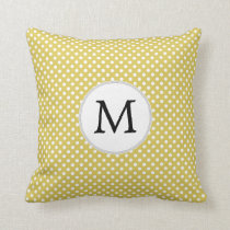 Personalized Monogram Polka Dots Pattern in Yellow Throw Pillow