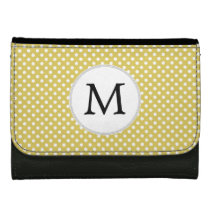 Personalized Monogram Polka Dots Pattern in Yellow Women's Wallets