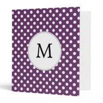 Personalized Monogram Polka dots purple and White 3 Ring Binder