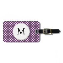Personalized Monogram Polka dots purple and White Bag Tag