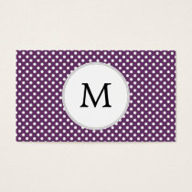 Personalized Monogram Polka dots purple and White Business Card