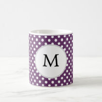 Personalized Monogram Polka dots purple and White Coffee Mug