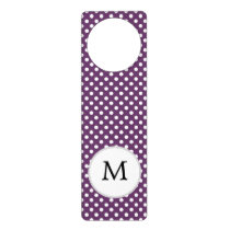 Personalized Monogram Polka dots purple and White Door Hanger