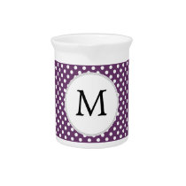 Personalized Monogram Polka dots purple and White Drink Pitcher