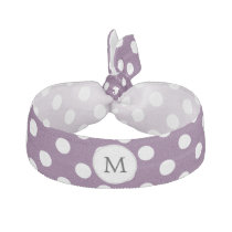 Personalized Monogram Polka dots purple and White Hair Tie