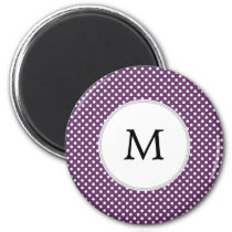 Personalized Monogram Polka dots purple and White Magnet