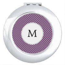 Personalized Monogram Polka dots purple and White Mirror For Makeup