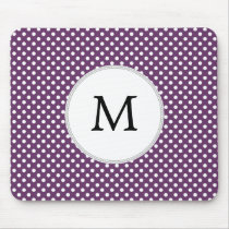 Personalized Monogram Polka dots purple and White Mouse Pad