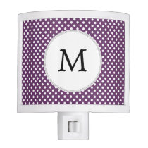 Personalized Monogram Polka dots purple and White Night Light