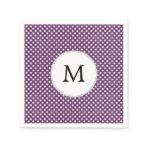 Personalized Monogram Polka dots purple and White Paper Napkin