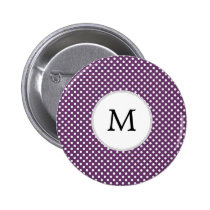 Personalized Monogram Polka dots purple and White Pinback Button