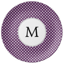 Personalized Monogram Polka dots purple and White Plate