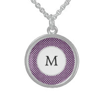 Personalized Monogram Polka dots purple and White Sterling Silver Necklace