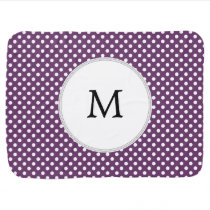 Personalized Monogram Polka dots purple and White Stroller Blanket