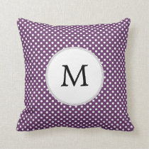 Personalized Monogram Polka dots purple and White Throw Pillow