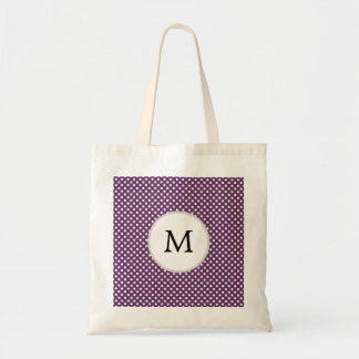 Personalized Monogram Polka dots purple and White Tote Bag