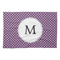 Personalized Monogram Polka dots purple and White Towel