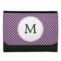 Personalized Monogram Polka dots purple and White Wallets For Women