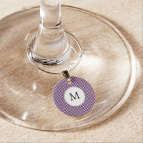Personalized Monogram Polka dots purple and White Wine Glass Charm