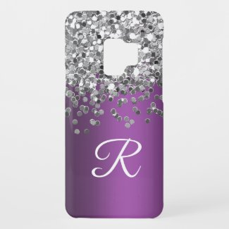 Personalized Monogram Purple and Silver Glitter Case-Mate Samsung Galaxy S9 Case