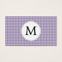 Personalized Monogram Purple Houndstooth Pattern Business Card