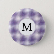 Personalized Monogram Purple Houndstooth Pattern Button