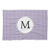 Personalized Monogram Purple Houndstooth Pattern Hand Towel