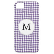 Personalized Monogram Purple Houndstooth Pattern iPhone SE/5/5s Case
