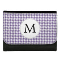 Personalized Monogram Purple Houndstooth Pattern Leather Wallet For Women