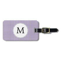Personalized Monogram Purple Houndstooth Pattern Luggage Tag