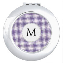 Personalized Monogram Purple Houndstooth Pattern Makeup Mirror