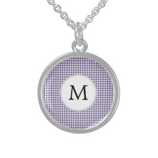 Personalized Monogram Purple Houndstooth Pattern Necklace