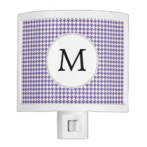 Personalized Monogram Purple Houndstooth Pattern Night Light