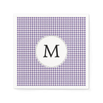 Personalized Monogram Purple Houndstooth Pattern Paper Napkin