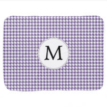 Personalized Monogram Purple Houndstooth Pattern Swaddle Blanket